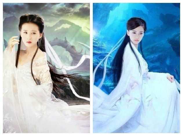 杨颖画画古装照片图片