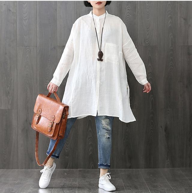 棉麻T恤+牛仔哈伦裤, 50岁的妈妈买了两套, 时尚也更年轻了 6