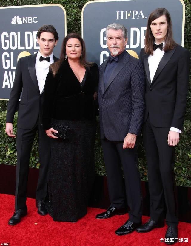 最帅007带全家闪耀金球奖, 180斤妻子雍容大气, 模特儿子更是高颜值
