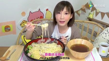 大胃王木下吃自制5.2斤的西兰花培根奶油意面!