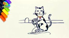 儿歌绘画教程: 顽皮小猫儿童简笔画