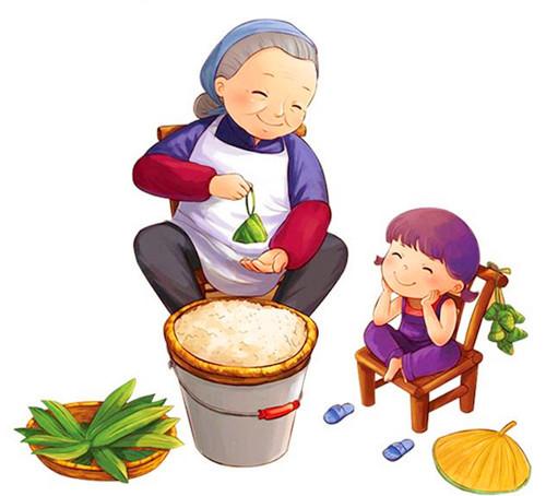 可爱人物吃粽子
