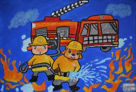 请为连云港的儿童消防绘画作品打call!
