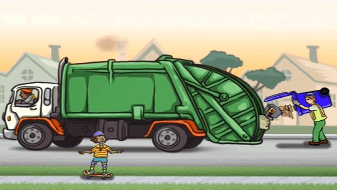 认识垃圾清理车 清理道路垃圾 垃圾回收处理 儿童益智游戏