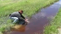 路边的水坑里发现一条鱼,男子过去一刀砍死给逮上来