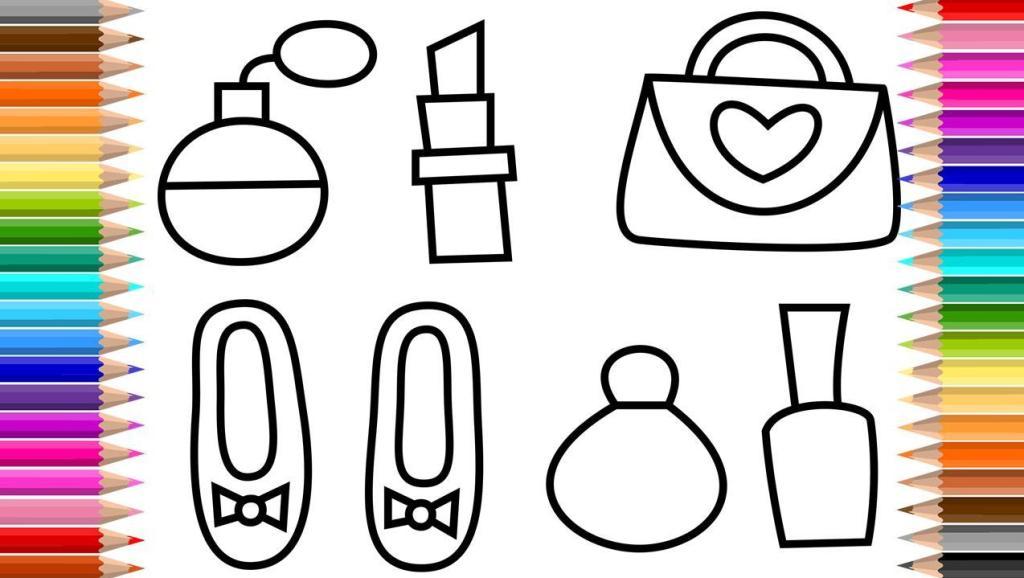 上班族 打开 一起画画吧 画香水 鞋子 包包 化妆品 口红 儿童画画