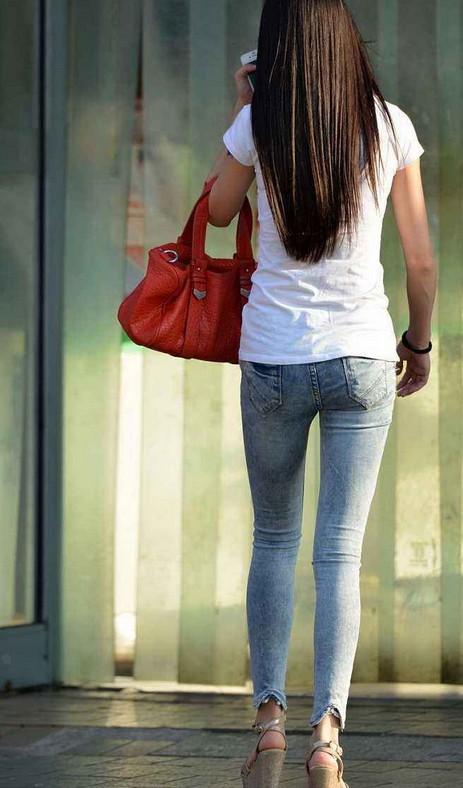 街拍, 成都牛仔裤美女图片