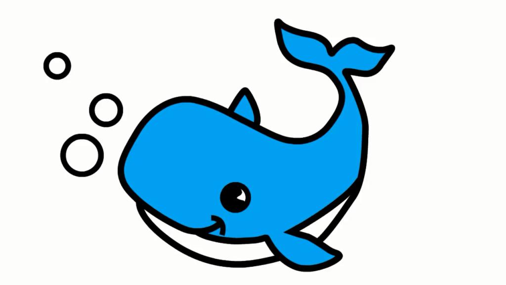打开 亲子早教学画画,教孩子简笔画画一只可爱会吐泡泡的蓝色大鲸鱼