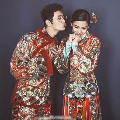 黄晓明baby中式婚纱照 教主卖萌亲吻娇妻图片