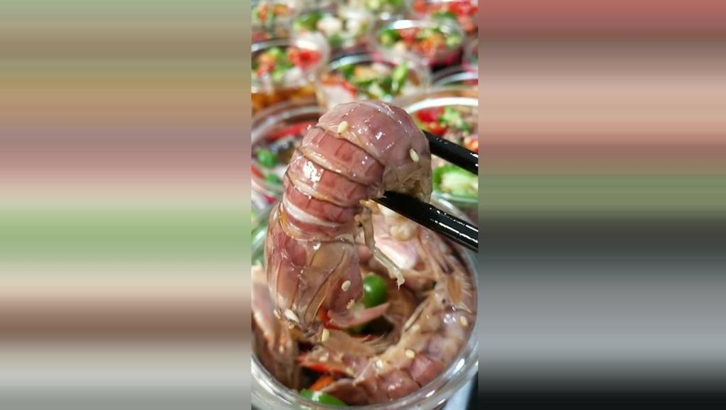 腌制皮皮虾菜美食小吃,超级美味爽口,请问你们吃过吗
