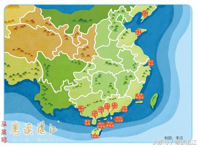 从这张中国主要蚝区分布图可以看出,雷州半岛西岸的这条岸线,几乎是图片