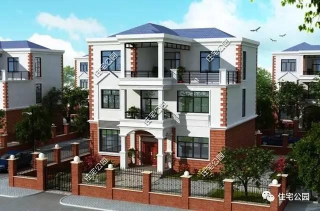 设计图分享 农村建房中间阳台设计图  3套农村自建房设计图,三层带