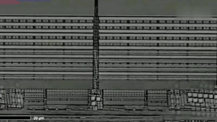 高倍显微镜下的cpu内部电路,像一座城市!