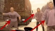 大货车正在路边救人,突然发觉情况不对,监控拍下这样的画面