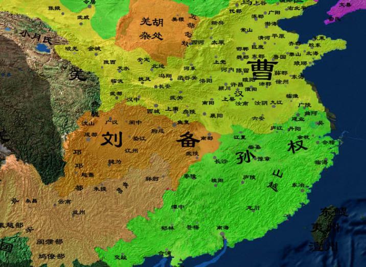 三国地图全图高清版: 三国地图精确到郡