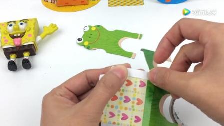 打开 打开 海绵宝宝diy手工制作可爱的青蛙椅子立体折纸益智玩具