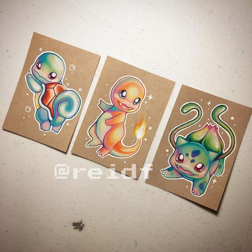 彩色可爱的皮卡丘, 宠物小精灵彩笔画