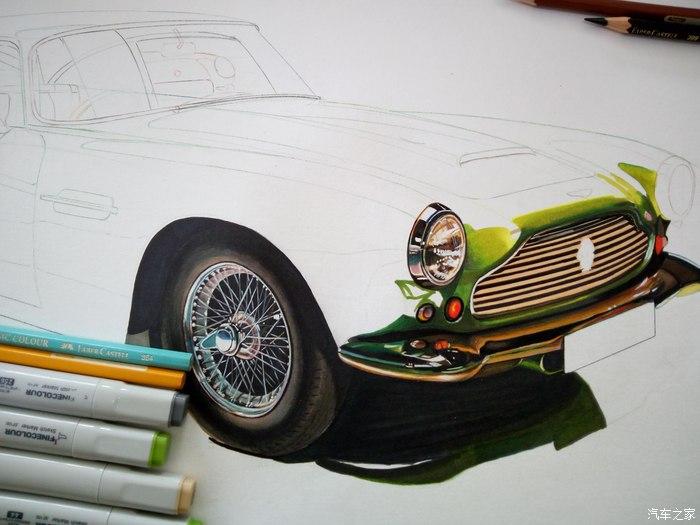 下我画的这辆1961款马丁db4的绘画步骤吧 我的绘画主要工具:马克笔,彩
