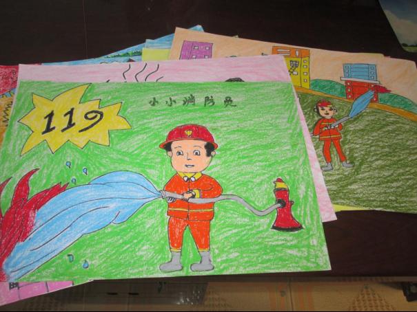 """集贤学区幼儿园积极参加""""我是小小消防员""""儿童绘画活动图片图片"""