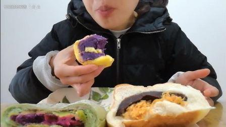 大口吃吃吃,冬天就是来囤脂肪: 芋泥虎皮卷+紫薯肉松虎皮卷+抹茶小清新欧包+古早味欧包+古斯汀海苔肉松小贝,上海吃播~