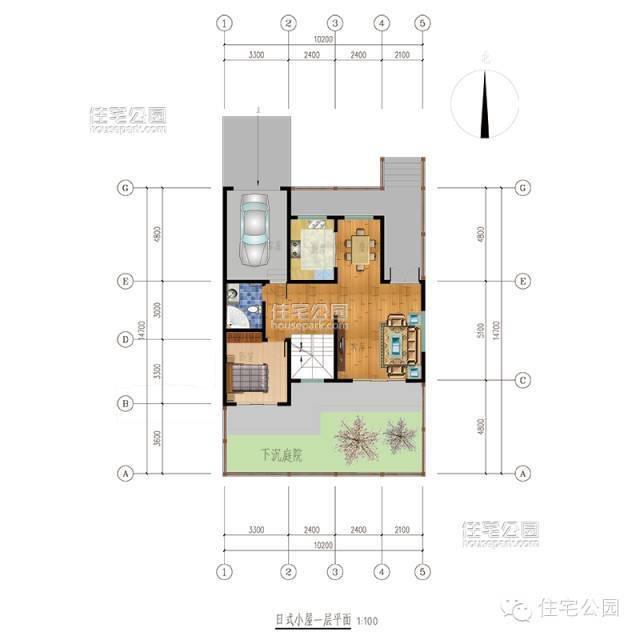 设计图  自建房户型占地100平米,适合宅基地尺寸15米x10米(包括庭院)
