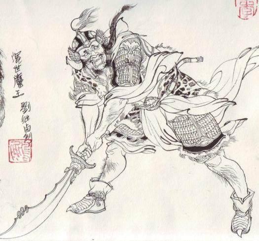 在《西游记》中,混世魔王是一个很奇怪的妖怪。 几乎所有的妖王出场都有来历介绍,可是,混世魔王没有。混世魔王在几年前忽然从天而降,出现到水帘洞群猴的生活中。 几乎所有的妖王出场都有长相介绍,可是,书中除了提到混世魔王头戴乌金盔,身穿皂罗袍,膝下黑铁甲等等衣着打扮外,没有一句提到混世魔王的真正长相。 几乎所有的妖精被打死,都会现出本相,可是,书中混世魔王被杀,仅仅写道:照顶门一下,砍为两段。魔王被杀死后,本相究竟是什么呢?书中一直未提。 最为关键的,是混世魔王看起来很凶恶,其实根本不算坏。 当孙悟空回到花