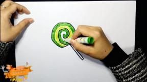 亲子绘画幼儿简笔画视频: 《彩色棒棒糖》