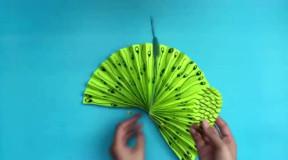 创意diy: 折纸剪纸手工教学, 3d立体孔雀!图片
