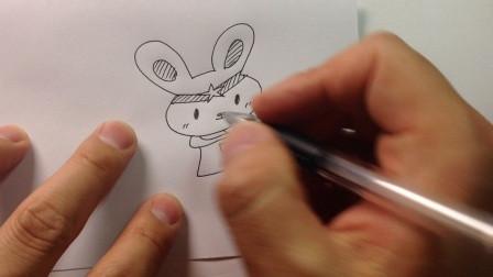 小兔子简笔画彩铅