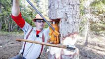 斧头+千斤顶,这种砍伐树木的方式真是第一次见!