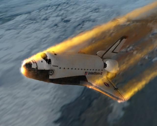 航天飞机是一种垂直起飞,水平降落的载人航天器,它以火箭发动机为动力