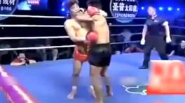 武林风中国勇士洪光霸气两连击直接ko日本拳王