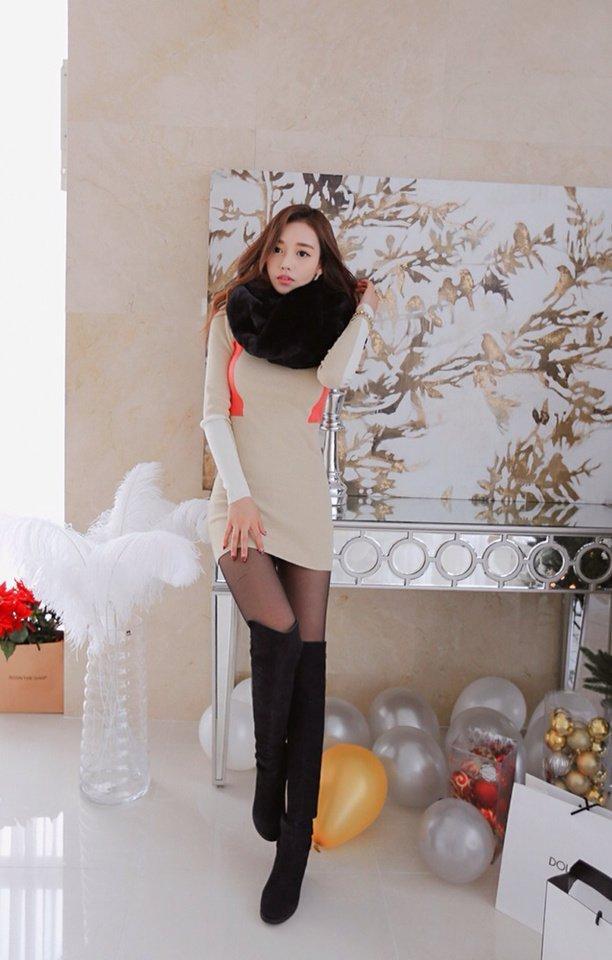 孙允珠完美的身材, 搭配长靴丝袜超短一步迷你连衣裙图片