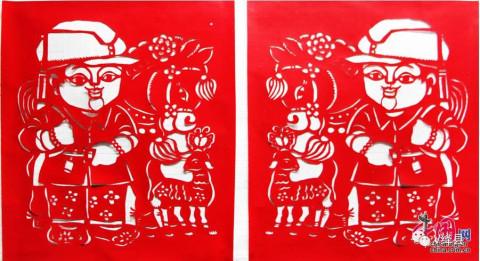 绛县古稀老人深情剪纸作品 用中国风图说《中国梦》