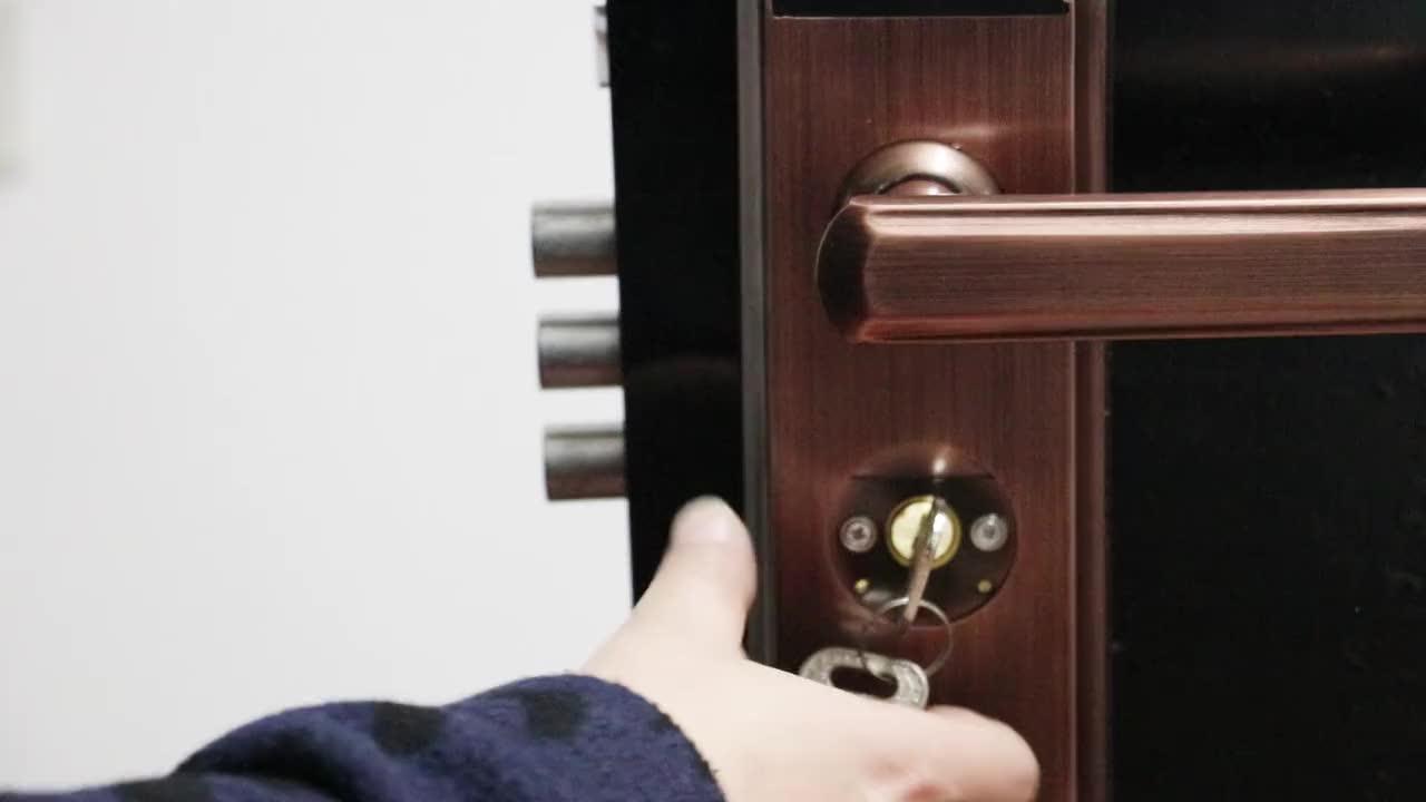 [邦臣指纹锁]T08防盗门设置 - 钥匙开锁