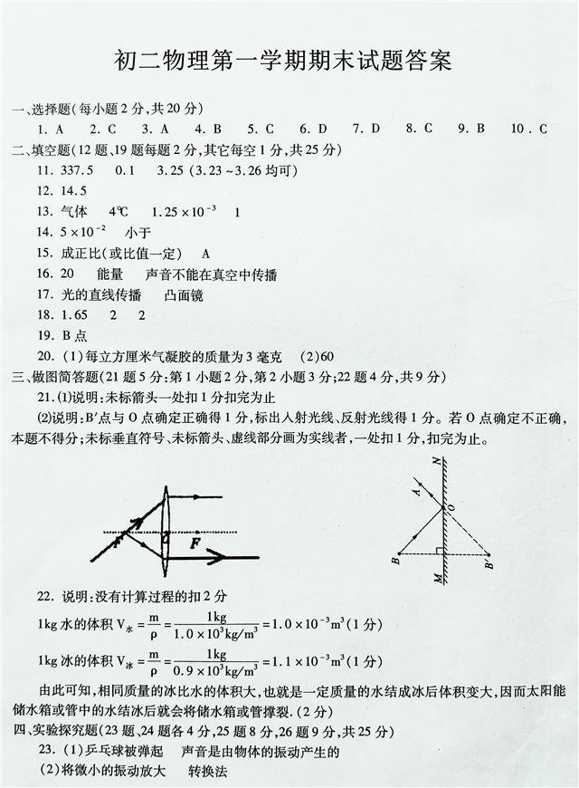 初二物理期末试题! 有答案! 有没有白学就看你能得多少分了!