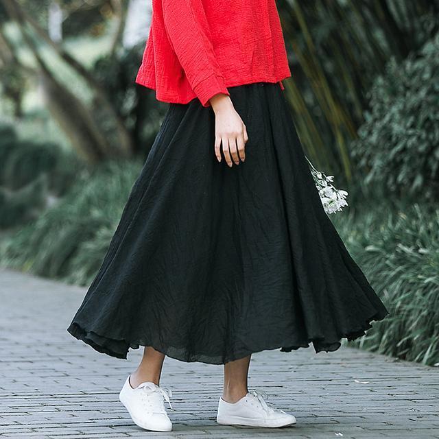 棉麻半身裙_喜欢安静的女人们, 就穿几款棉麻半身裙, 丝丝复古味道