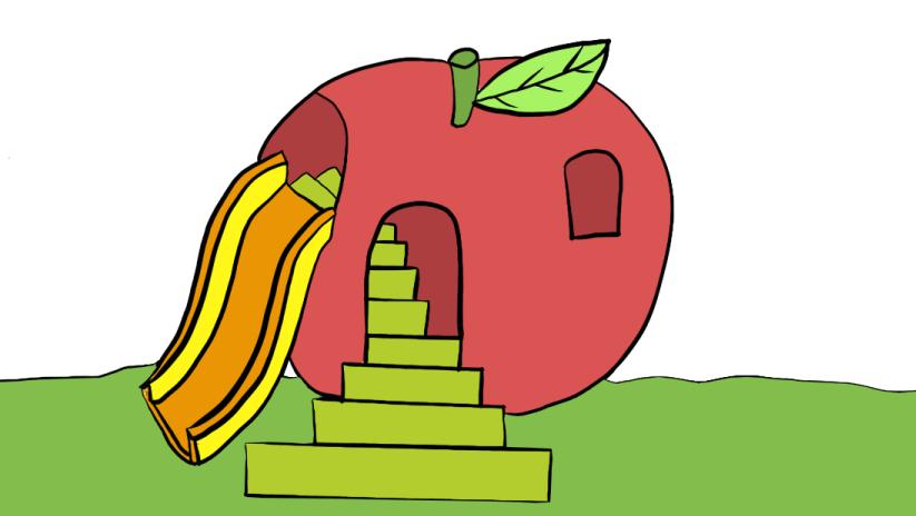 打开 打开 苹果乐园卡通简笔画丨教小朋友画儿童游乐园,亲子绘画涂鸦