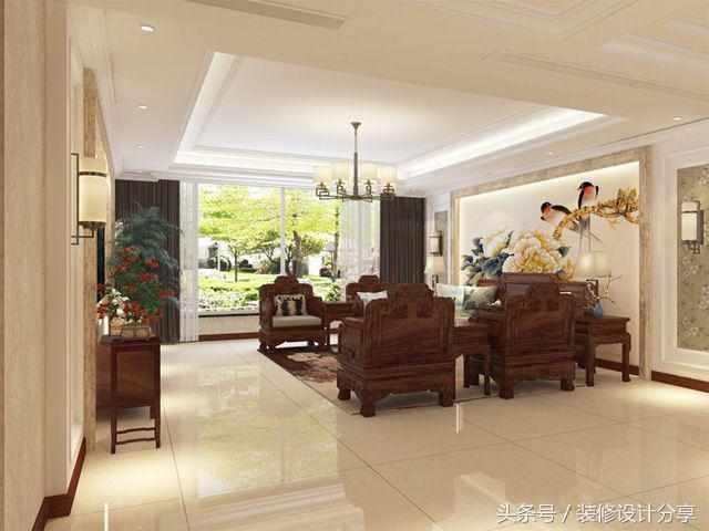 大连4室2厅中国风, 经典新中式红木古典风