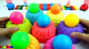 小猪佩奇和乔治拆惊喜蛋吃糖果生病了 太空沙diy彩色蛋糕学习颜色