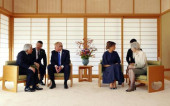 美国总统特朗普夫妇在日本皇宫拜会明仁天皇