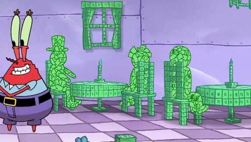 蟹老板用钱过家家,因为只剩钱了