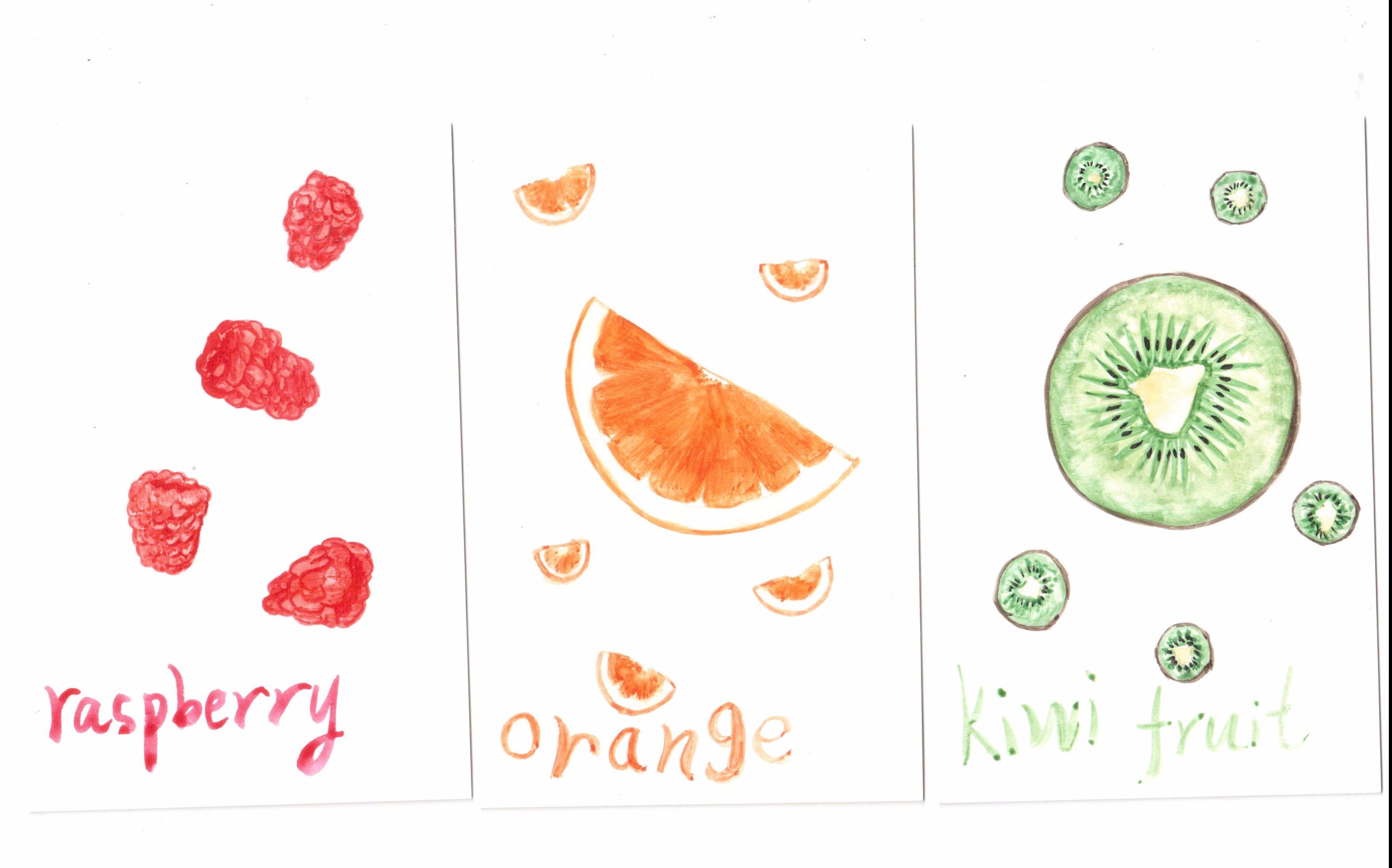 [水彩]手绘明信片-水果(5倍速 打开 超可爱的樱桃,西瓜和草莓水果手绘