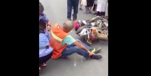 吉林市青岛街一环卫工人左臂被碾轧 肇事车辆逃逸