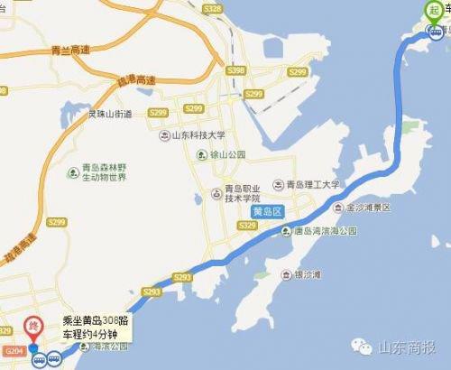 公交路线1:(在青岛火车站乘)青西快线 —(机关西部中心站下车)转黄岛