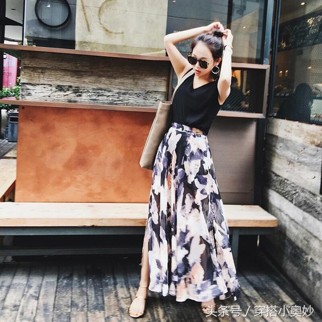 雪纺百褶裙半身裙_夏日美搭雪纺百褶裙, 印花点缀, 让你更显优雅迷人