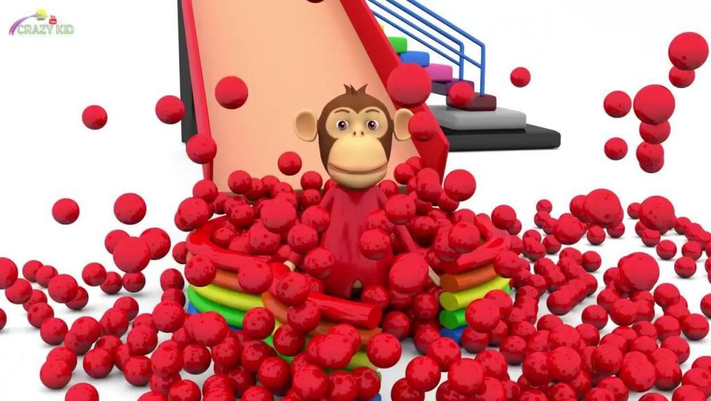 早教启蒙色彩动画: 小猴子乘滑梯,学习色彩和数字
