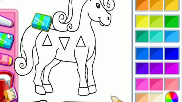 打开 打开 开心绘画涂色 动物系列 教你画可爱的独角兽 小马宝莉
