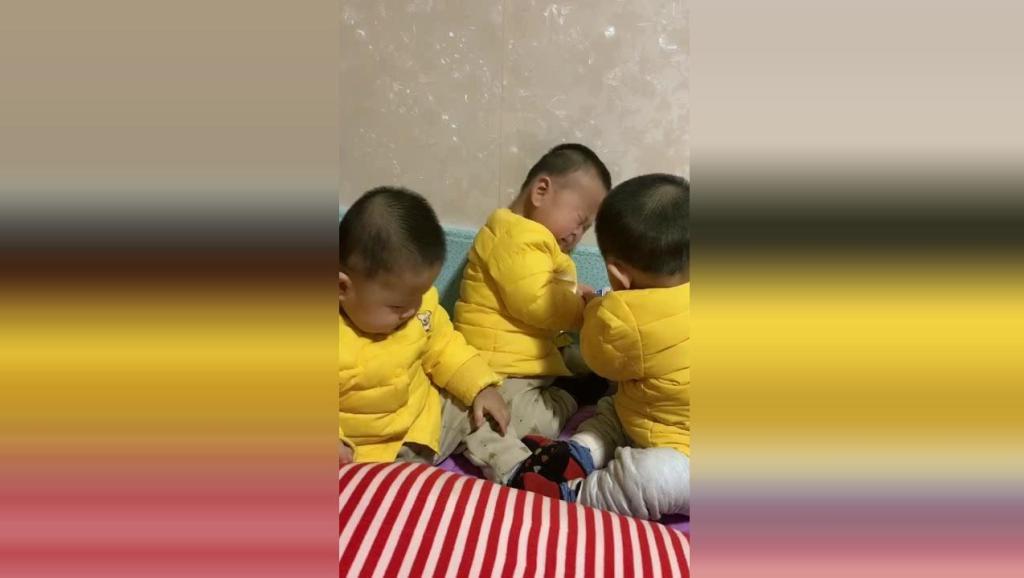 三胞胎抢手机大战开始了,接下来宝宝们的反应太可爱了!