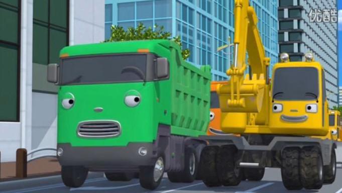 儿童建筑挖机动画片_挖机视频表演视频大全动画片